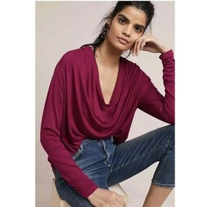 NWT Anthro Maeve Plum Melissa Draped Blouse XL